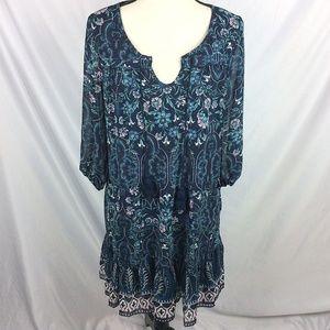As U Wish Peasant Botanical Floral Printed Dress